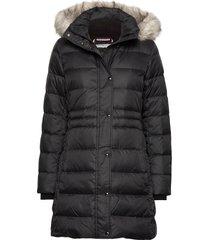 th ess tyra down coat with fur gevoerde lange jas zwart tommy hilfiger