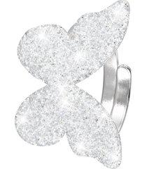 anello farfalla in ottone rodiato e glitter per donna
