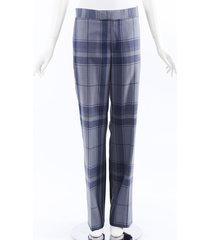 celine plaid high waist straight leg pants blue sz: s
