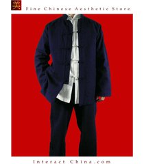 fine linen blue kung fu martial arts tai chi uniform suit tailor custom made