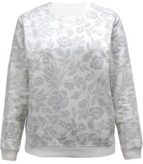 karen scott plus size floral-print sweatshirt, created for macy's
