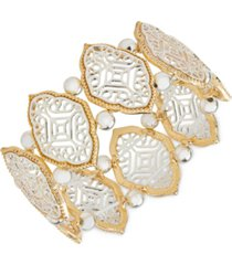 style & co two-tone filigree & bead stretch bracelet, created for macy's