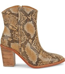 barclay snake-embossed leather booties