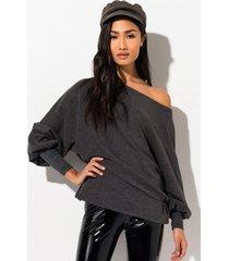 akira cozy cozy long sleeve boat neck sweatshirt