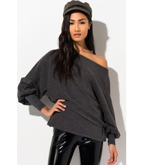 akira cozy cozy long sleeve boat neck sweatshirt