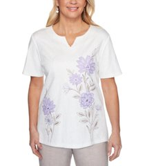 alfred dunner nantucket embroidered textured split-neck top
