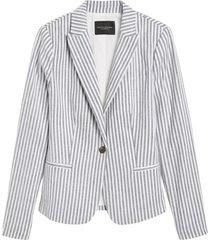 chaqueta lino classic stripe celeste banana republic