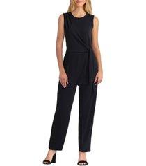 women's sleeveless faux wrap jumpsuit