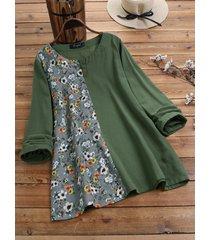 camicetta a maniche lunghe con bottoni a rana patchwork floreale plus