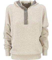brunello cucinelli cotton english rib hooded sweater with precious contour
