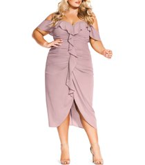 plus size women's city chic va va voom ruched ruffle dress, size x-large - pink