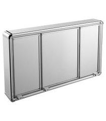 armário espelheira para banheiro 3 portas 73x45cm astra lbp14/s alumínio
