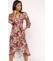 sukienka asymetryczna kopertowa