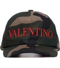 valentino camouflage logo-embroidered baseball cap - green