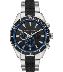 ax armani exchange men's chronograph enzo two-tone stainless steel & silicone bracelet watch 46mm