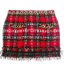 balmain tartan tweed mini skirt - red