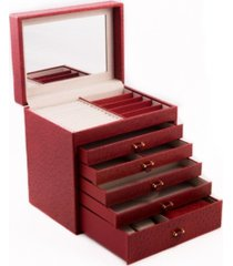 bey-berk ostrich jewelry chest with removable travel case, 5 drawers and top tray with mirror