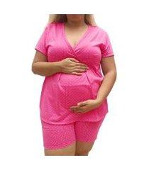 pijama plus size linda gestante short doll amamentação feminino