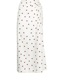ganni polka dot midi skirt - white