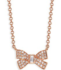 14k rose gold & diamond bow pendant necklace
