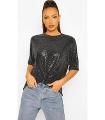 tall gedraaide top met pailletten, black