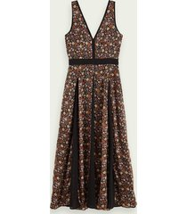 scotch & soda mouwloze midi-jurk met print