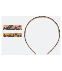kit acessórios de cabelo tiara e presilhas   accessories   marrom   u