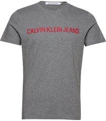 institutional slim logo tee t-shirts short-sleeved grå calvin klein jeans