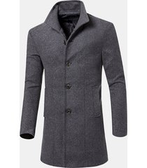 trench coat slim in lana solido casual da uomo
