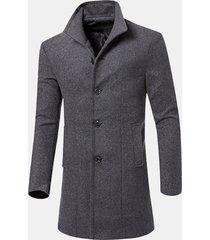 trench coat slim in lana solido casual da uomo