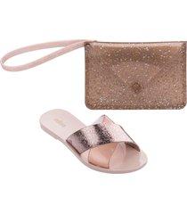 melissa good times slide sandal & clutch set - pink