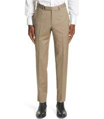 men's ermenegildo zegna micronsphere classic fit wool dress pants, size 48 eu - beige