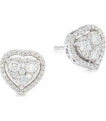 saks fifth avenue women's 14k white gold & diamond heart stud earrings