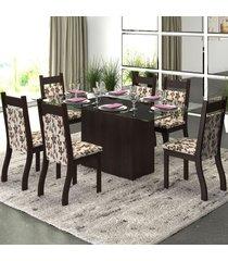 mesa de jantar 6 lugares ambar nogueira/brownie - viero móveis