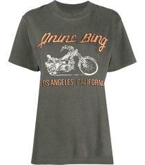 anine bing lili motorcycle-print t-shirt - grey