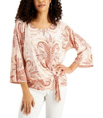 jm collection printed 3/4-sleeve tie-front top, created for macy's