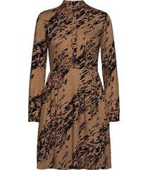 viscose twill ls button dress jurk knielengte bruin calvin klein