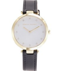 rebecca minkoff women's nina stainless steel, crystal & leather-strap watch
