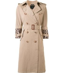 r13 animal print sleeve belted trench coat - brown