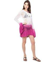 saída de praia pink tricot manga flare estampa tie dye feminina