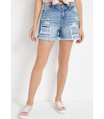 kancan™ womens super high rise classic non-stretch backed ripped 3.5in shorts blue - maurices