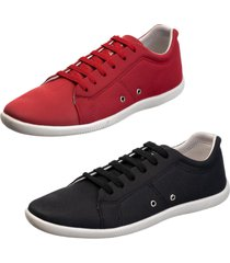kit 2 sapatênis sapato casual mavi preto e vermelho