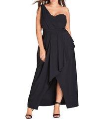 plus size women's city chic allure one-shoulder maxi dress, size medium - black