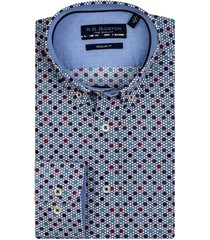 bos bright blue lange mouw casual overhemd 207670/302