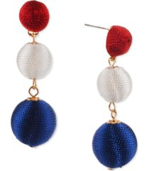 holiday lane gold-tone red, white & blue thread-wrapped ball drop earrings, created for macy's