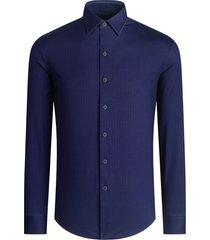men's bugatchi herringbone stretch knit button-up shirt, size xx-large - blue