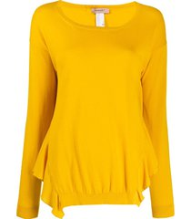twin-set suéter com babados - amarelo