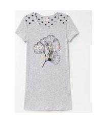 camisola manga curta estampa floral e poá | lov | cinza | m
