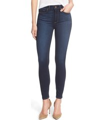 women's paige transcend - hoxton high waist ankle ultra skinny jeans, size 25 - blue