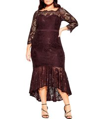 plus size women's city chic estella lace high/low cocktail dress